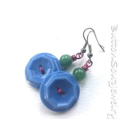 Blue Vintage Button Earrings with Green and Magenta by buttonsoupjewelry on Etsy https://www.etsy.com/listing/546544162/blue-vintage-button-earrings-with-green