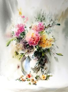 I carry a bouquet of your favorite! Watercolor Mohammada Yazdchai. Discussion on LiveInternet - Russian Service Online Diaries