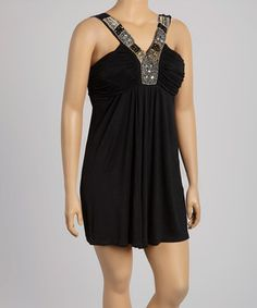 Look what I found on #zulily! Black Embellished V-Neck Dress - Plus by Life and Style Fashions #zulilyfinds