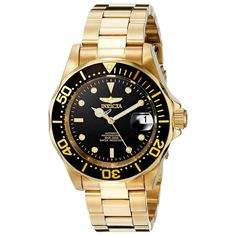 40a1664cff0a Invicta 8929 Men s Pro Diver Gold Tone Automatic Black Dial Dive Watch  Stylish Watches
