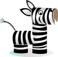 Zebra, made from toilet paper rolls. Step by step tutorial. - Tutorial Toilet Paper Roll Crafts For Kids and Adult Toilet Roll Craft, Toilet Paper Roll Art, Rolled Paper Art, Toilet Paper Roll Crafts, Cardboard Crafts, Cardboard Tubes, Diy Paper, Kids Toilet, Wood Crafts