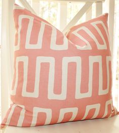 I like the geometric pattern in a soft color: Decorative Pink Pillow Modern Geometric Pink by MotifPillows