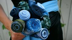 I don't know what I need these for - but I want one!!! Upcycled Something Blue Necktie Bouquet