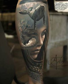 Face morph tattoos can make true custom ink for people wanting something poetic, original and superb and Arlo DiCristina masters this style. Ocean Tattoos, Body Art Tattoos, New Tattoos, Sleeve Tattoos, Tatoos, Tattoo Sleeves, Skull Tattoos, Tattoo Henna, Diy Tattoo
