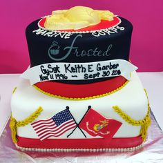 friendly little cakery by the sea. Military Cake, Retirement Cakes, My Marine, Usmc, Themed Cakes, Frost, Promotion, Birthday Cake, Desserts