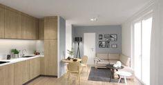 Das Neubauprojekt MAIN ATRIUM der I-live Frakfurt GmbH & Co. KG in Offenbach am Main verfügt über eine großzügige Ausstattung. Diese umfasst zum Beispiel eine Pantry-Küche (Kühlschrank, Backofen, Glaskeramikkochfeld, Umluft-Dunstabzug, Spüle) und alle erforderlichen Möbel.