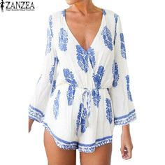 2017 ZANZEA Womens Sexy V Neck 3/4 Sleeve Floral Summer Beach Casual Boho Shorts Jumpsuit Romper Playsuit
