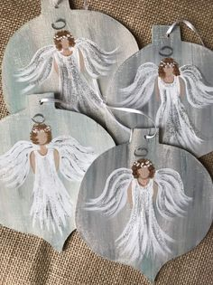 Excited to share this item from my shop: Hand painted Christmas Angel Ornament christmas angels Your place to buy and sell all things handmade Christmas Tree Painting, Painted Christmas Ornaments, Hand Painted Ornaments, Wood Ornaments, Christmas Wood, Christmas Angels, Christmas Projects, Handmade Christmas, Christmas Decorations