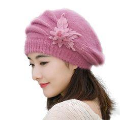 83c2c961402 AutumnFall Fashion Womens Flower Knit Crochet Beanie Hat Winter Warm Cap  Beret (Purple) Crochet