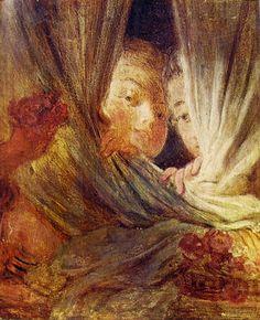 """Jean-Honorè Fragonard, """"Le piccole curiose"""", 1765-72, olio su tavola, 16 x 13 cm, Museo del Louvre a Parigi."""