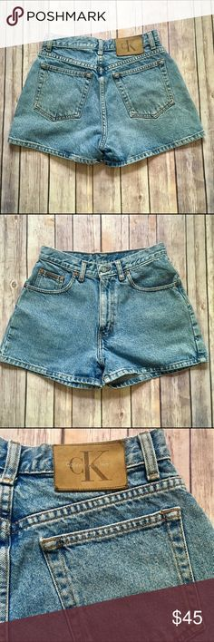 CALVIN KLEIN Vintage Denim High Waist Daisy Dukes These Calvin Klein vintage Daisy Duke shortie denim shorts are 5 pocket sandblast rinse. Designed to fade with time, 100% cotton.  Size 25, tag says 3 -vintage sizing! Always refer to measurements/ measurements are approximate: - 12.5 inches across waist  - 19.5 inches across hips - 10.5 inch rise  - 2.5 inch inseam  - 13 inches top to bottom outseam - 11 inches across leg opening   No stains, holes, rips, tears, pilling. Calvin Klein Jeans…