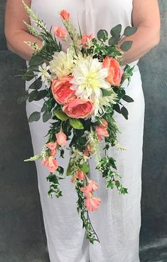 Coral Cascading Silk Bridal Bouquet-Coral Cabbage Rose Cascading Bouquet-Chrysanthemums-Sweet Peas-Ivy-Coral Wedding Bouquet-Faux Greenery Coral Cascading Silk Bridal Bouquet and Boutonnière-Coral Bridal Bouquet Coral, Cascading Wedding Bouquets, Prom Flowers, Cascade Bouquet, Bridal Flowers, Flower Bouquet Wedding, Purple Bouquets, Bridesmaid Bouquets, Pink Bouquet