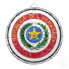 Paraguay Coat Of Arms Dartboard With Darts