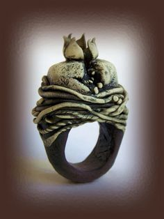 Sona Grigorian of Barcelona Spain, sacred heart ring, polymer clay