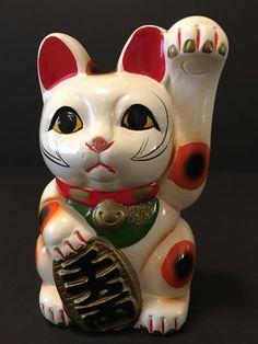 Vintage small white Japanese Maneki-neko lucky cat ceramic figurine piggy bank 6 7