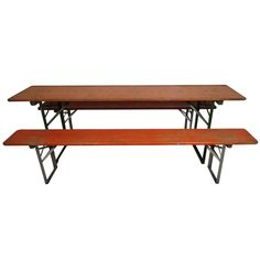 Painted Picnic Table And Benches   From a unique collection of antique and modern industrial and work tables at https://www.1stdibs.com/furniture/tables/industrial-work-tables/