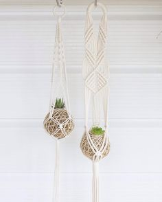 "Nalani || Knotty Bloom on Instagram: ""Kokedama + Macramé // The 'Hoop' + 'Diamond Duo' plant hangers fit these adorable mini succulent kokedamas from @littleniknax perfectly. Possibly a match made in plant-heaven! ➰"""