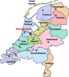 Large colored map of the Netherlands Europe Trip Pinterest