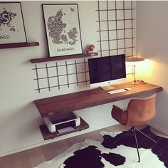 Study/office inspiration - wall-mounted desk, keep it small Our Primum chair + table and shelves from @byloth = unique home office. Photo: @byloth #benthansendesign#Primumchair#homeoffice#hjemmekontor