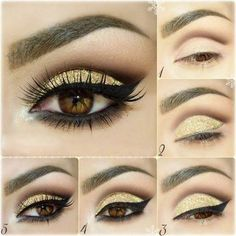 Sharp, defined eyeliner and shading with simple gold eyeshadow is great for latin and standard ballroom. Visit http://ballroomguide.com/comp/hair_make_up.html for more hair and makeup info