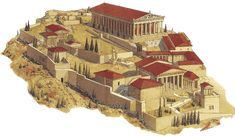 ACROPOLIS ATENIENSE: Estaba formada por un propileos de entrada, templo de Atenea Niké, templo de Artemisa, estatua gigante de Atenea, Erecteion, Altar de Atenea, Partenón, Altar de Zeus y pórtico de las cariátides.