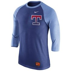 73f129842 Texas Rangers Nike Cooperstown Collection Tri-Blend 3/4-Sleeve Raglan T- Shirt - Heathered Royal/Light Blue