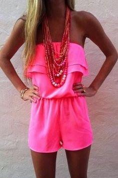 Hot pink romper.