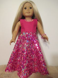 American Girl Doll Sequin Long Flair Dress