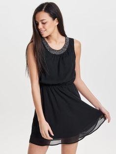 DETAILED SLEEVELESS DRESS, Black