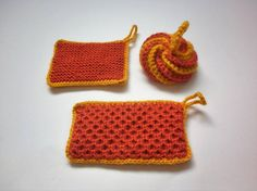 Set de 3 tawashis / Eponges lavables  Jaune / Orange foncé