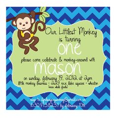 Swinging monkey first birthday invitation by myaclairedesign 1200 chevron monkey themed 1st birthday invitation filmwisefo Image collections