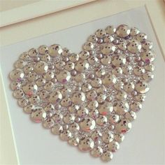 Framed silver button heart Personalised wedding gift