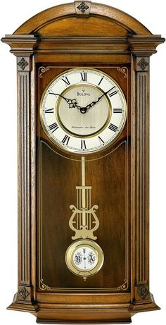 Old World Walnut Finish. Hartwick-Solid Wood Case, Old World Walnut Finish. Angled Corners With Fluted Pilasters And Decorative Carved Accents. Night Shut-Off. Decorative Screened Curved Glass Lens : W: 14 D: Old Fashioned Clock, Chiming Wall Clocks, World Clock, Pendulum Wall Clock, Clock Wall, Wood Home Decor, Wall Decor, Walnut Wood, Antiques