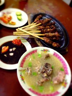 Goat satay hotplate and soup