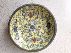Cloisonné floral enamel Asian vintage bowl by SpaceModyssey