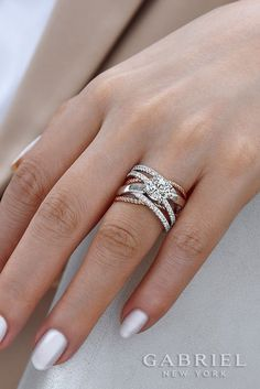White Essie Nails with 14k White Gold / Rose Gold Round Twisted Engagement Ring