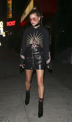 Stylish as ever: Hailey Baldwi headed out solo in West Hollywood on Wednesday to check out 6lack's concert at The Roxy