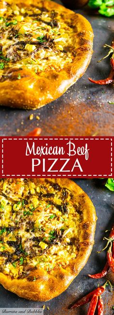 Who doesn't love a Mexican pizza for a fun spin on your typical pizza night? This Mexican beef pizza features tender beer-braised shredded beef, fresh corn and green chiles for a totally unique pizza recipe. Pizza Recipes, Easy Dinner Recipes, Beef Recipes, Mexican Food Recipes, Beef Pizza, Pizza 101, Pizza Mexicana, Mexican Pizza, Cooking With Beer