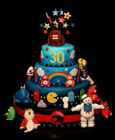I MUST have this cake when I turn 30. It has Care Bears, Rainbow Bright, a Popple... I just need some Fraggles, Strawberry Shortcake and a My Little Pony!