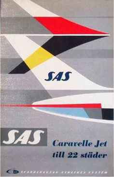 SAS Airline Caravelle to 22 Cities Original Vintage Travel Poster