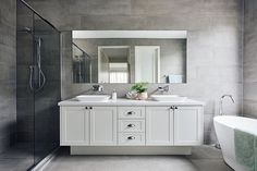 hamptons bathroom Boutique Homes - Hamptons Style. Family Bathroom, Budget Bathroom, Bathroom Interior, Interior Design Living Room, Small Bathroom, Bathroom Ideas, Bathroom Designs, Bathroom Laundry, Bathroom Plans
