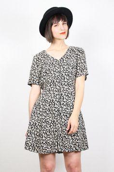 Vintage 90s Romper Black Tan Liberty Floral Print Jumper Shorts Playsuit Grunge Babydoll 1990s Mini Dress Onesie Limited M Medium L Large #vintage #etsy #90s #1990s #romper #playsuit #floral #grunge #softgrunge