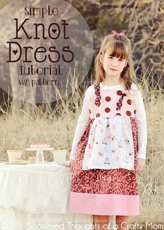 Very Clear tutorial for making a little girls knot dress with free pattern in sizes 2, 3, 4, 5, 6