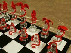 Epic Dragon Chess Set - Glass Board, Polymer Clay Dragons, Handmade, Firey Red and Icey Blue, Fire and Ice Más Polymer Clay Projects, Polymer Clay Creations, Clay Crafts, 3d Chess, Chess Sets, Dragon Chess, Glass Chess Set, Chess Set Unique, Polymer Clay Dragon
