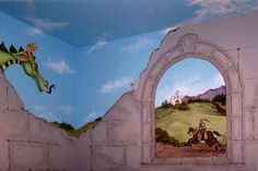 Castle wall with knight and dragon