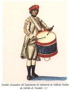 Regimiento de Infantería de Milicias Pardos de Mérida de Yucatán 1767 Granadero Tambor