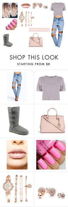 """""""Untitled #389"""" by xkprincess on Polyvore featuring Boohoo, Monrow, UGG Australia, Michael Kors, LASplash, Anne Klein and GUESS"""