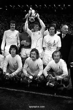 Sport, Football, 3rd March, 1973, Tottenham Hotspur Captain, Martin Peters holds the League Cup aloft after Spurs had beaten Norwich City 1-0 at Wembley to win the trophy, with l/r, Cyril Knowles, Pat Jennings,Peters, Steve Perryman and Manager Bill Nicholson