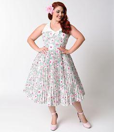 1950s Pastel Floral Capistrano Halter Swing Dress $98.00 AT vintagedancer.com