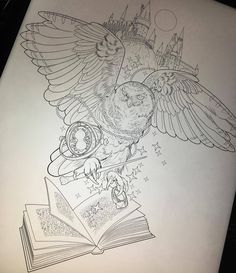 """""""Hedwig for tomorrow! Harry Potter Tattoos, Harry Tattoos, Harry Potter Artwork, Harry Potter Drawings, Harry Potter Love, Harry Potter World, Body Art Tattoos, Sleeve Tattoos, Harry Potter Sketch"""